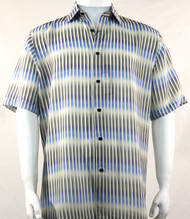 Bassiri Blue Broken Line Pattern Short Sleeve Camp Shirt