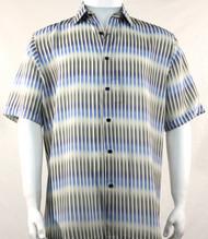 Bassiri Blue Broken Line Pattern Short Sleeve Camp Shirt