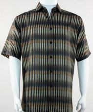 Bassiri Olive Broken Line Pattern Short Sleeve Camp Shirt