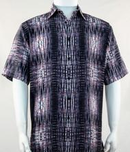 Bassiri Charcoal Tribal Print Short Sleeve Camp Shirt