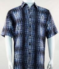 Bassiri Dark Blue Tribal Print Short Sleeve Camp Shirt