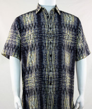 Bassiri Yellow & Dark Grey Tribal Print Short Sleeve Camp Shirt