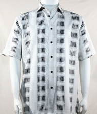 Bassiri Black Broken Line Print Short Sleeve Camp Shirt