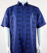 Bassiri Royal Blue Line Print Short Sleeve Camp Shirt