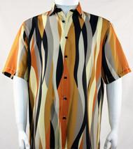 Bassiri Gold Mod Streamer Design Short Sleeve Camp Shirt