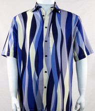 Bassiri Blue Mod Streamer Design Short Sleeve Camp Shirt