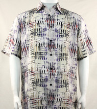 Bassiri Abstract Cream Mesh Design Short Sleeve Camp Shirt
