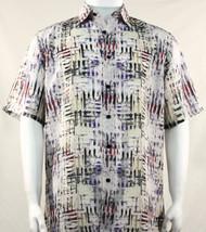 Bassiri Abstract Cream Mesh Design Short Sleeve Camp Shirt