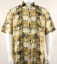 Bassiri Abstract Yellow Mesh Design Short Sleeve Camp Shirt