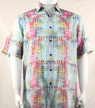 Bassiri Abstract Aqua & Pink Mesh Design Short Sleeve Camp Shirt
