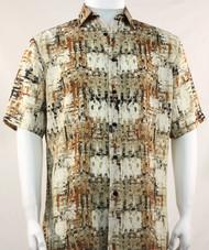 Bassiri Abstract Tan Mesh Design Short Sleeve Camp Shirt