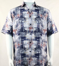Bassiri Abstract Dark Blue Mesh Design Short Sleeve Camp Shirt
