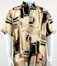 Bassiri Melon and Black Abstract Print Short Sleeve Camp Shirt