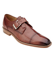 Belvedere Genuine 100% Lizard Monk Strap Dress Shoe - Antique Peanut