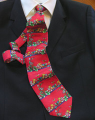 Antonio Ricci 100% Printed Silk Red Flower Design Italian Tie