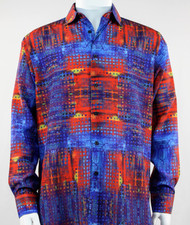Bassiri Red & Blue Mod Abstract Design Long Sleeve Camp Shirt