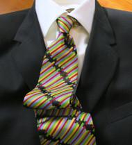La Vita 100% Silk Italian Tie - Colorful Abstract Stripes