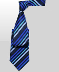 Outlet Center: Antonio Ricci 100% Silk Woven Tie - Blue Diagonal Stripes