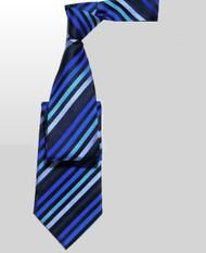 Outlet Center: Antonio Ricci 100% Silk Woven Tie - Blue Diagonal Stripes