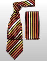 Outlet Center: Antonio Ricci 100% Silk Woven Tie - Orange Diagonal Stripes