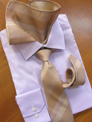 Antonio Ricci 100% Silk Woven Tie - Tan, Lavender and Melon Design