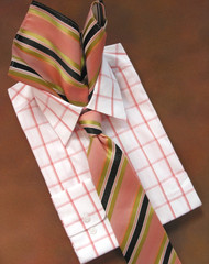 Antonio Ricci 100% Silk Woven Tie - Rose, Melon and Black Stripe