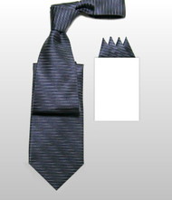 Antonio Ricci 100% Silk Woven Tie - Slate Grey Vertical Stripes