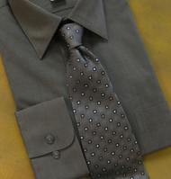 Antonio Ricci 100% Silk Woven Tie - Squares on Charcoal