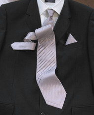 Outlet Center: Pantani Front Diagonal Pleated 100% Woven Silk Tie - Lilac