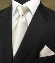 Outlet Center: Antonio Ricci 100% Satin Silk Tie with Pocket Square - Soft Ivory