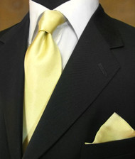 Antonio Ricci 100% Satin Silk Tie - Light Yellow