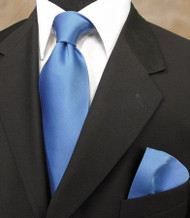 Outlet Center: Luciano Ferretti 100% Satin Silk Necktie with Pocket Square - Mid-Blue