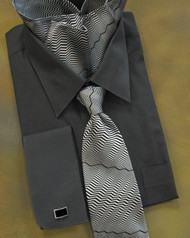 Outlet Center: Antonio Ricci 100% Silk Woven Tie & Pocket Square - Black Zig-Zags