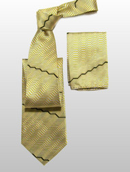 Outlet Center: Antonio Ricci 100% Silk Woven Tie & Pocket Square - Gold Zig-Zags