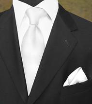 Outlet Center: Luciano Ferretti 100% Woven Silk Necktie with Pocket Square - White
