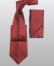 Outlet Center: Antonio Ricci 100% Silk Woven Tie - Red with Center Rectangles
