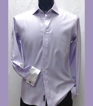Outlet Center: Antonio Martini Contrasting French Cuff 100% Cotton Shirt -  Light Purple Windowpane