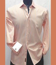 Outlet Center: Antonio Martini Contrasting French Cuff 100% Cotton Shirt - Orange Stripe