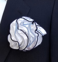 Antonio Ricci Double Color Pouf Pocket Square - Navy & Light Blue on White