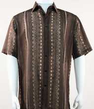 Outlet Center: Bassiri Lines and Squares on Brown Short Sleeve Camp Shirt