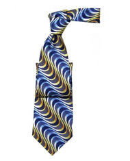 Antonio Ricci 100% Silk Tie - Blue & Yellow Swirls