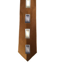Outlet Center: Antonio Ricci 100% Printed Silk Tie - Embossed Rectangles on Golden Brown