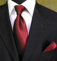 Outlet Center: Antonia 100% Woven Silk Necktie with Pocket Square - Dark Red