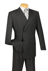 Vinci Black Bold Pinstripe Double-Breasted Suit with Pleated Slacks