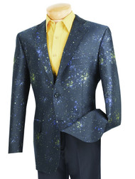 Vinci Fancy Blue Paint Splatter Sportcoat