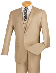 Vinci 2-Button Beige Suit & Vest - Slim Fit