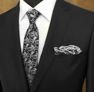 Laurant Bennet Necktie w/ Matching Pouf Pocket Square - Black with Paisleys