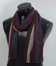 Scottish Large Multi-Stripe Winter Scarf  - Berry
