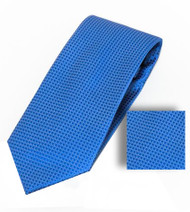 Antonia 100% Woven X-Long Silk Necktie with Pocket Square - Rich Blue