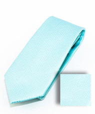 Antonia 100% Woven X-Long Silk Necktie with Pocket Square - Ice Blue